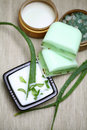 Aloe Vera Leaves, Handmade Soap And Bath Salt Royalty Free Stock Images - 17429949