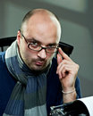 Old Fashioned Bald Writer In Glasses Stock Images - 17432774