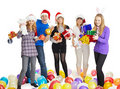 Happy Friends With New Year S Gifts On White Royalty Free Stock Photos - 17444958