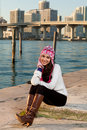 Pretty Young Woman Along The Bay With Skyline Royalty Free Stock Photo - 17461745