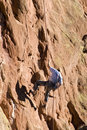 Rock Climber Rapelling Down Face Of Rock Formation Royalty Free Stock Photography - 1753817