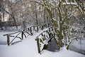 Wooden Bridge Covered With Snow Stock Images - 17509574