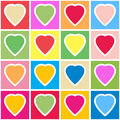 Background With Multicolor Hearts On Grid Royalty Free Stock Image - 17560636