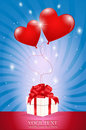Two Air Red Ball-heart Attached To A Gift Box Stock Image - 17565981