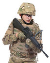 Modern Soldier With Rifle Stock Photography - 17588012