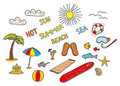 Colorful Beach Doodles Royalty Free Stock Images - 17639489