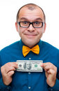 Happy Man Holding Hundred Dollars Royalty Free Stock Photography - 17684367
