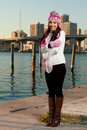 Pretty Young Woman Along The Bay With Skyline Stock Images - 17688134