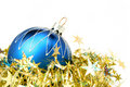 Christmas Sphere Of Dark Blue Color And Tinsel Royalty Free Stock Photos - 1778268