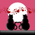 Happy Valentines Day Cats In Love Silhouette Royalty Free Stock Image - 17705996