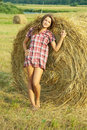 Girl On Hay Royalty Free Stock Photography - 17721217