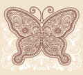 Henna Mehndi Paisley Butterfly Doodle Design Royalty Free Stock Images - 17735219