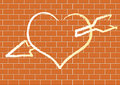 Heart With On A Brick Wall. Royalty Free Stock Photos - 17755958