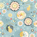 Seamless Floral Pattern With Birds In Love Royalty Free Stock Image - 17757206