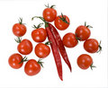 Red Cherry Tomatoes With Red Chilly Peppers Stock Photos - 17764563