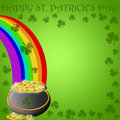 Happy St Patricks Day Pot Of Gold End Of Rainbow Stock Photo - 17768500