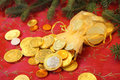 Gold Chocolate Coins For A Christmas Gift Royalty Free Stock Photo - 17769555