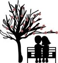 Couple Under The Cherry Tree Stock Photo - 17783080