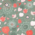 Seamless Floral Pattern With Birds In Love Royalty Free Stock Image - 17792706