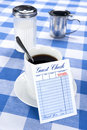 Blank Check In Diner Stock Images - 17808984