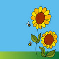 Sunflower And Bees Stock Image - 17815781