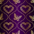 Seamless Springtime Background In Gold And Purple Stock Images - 17835944