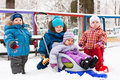 Children Playing In Snow Outdoor Stock Images - 17843984