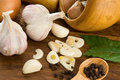 Garlic Nutrition And Healthy Food On Wood Royalty Free Stock Photo - 17861965