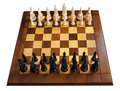 Chess Game, Wood Chess Board, Isolated On White Royalty Free Stock Images - 17864109
