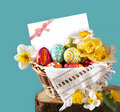 Card And Easter Eggs And Flower Royalty Free Stock Photography - 17945927