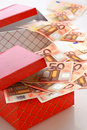 Money In Gift Box. Royalty Free Stock Photos - 17986628