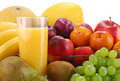 Composition With Fruits And Glass Of Orange Juice Stock Images - 17991114