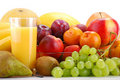 Composition With Fruits And Glass Of Orange Juice Royalty Free Stock Photo - 17991135