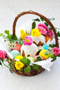 Basket With Easter Eggs And Cake Royalty Free Stock Image - 18022186