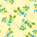 Seamless Texture With Blue Flowers - Vector Royalty Free Stock Photo - 18034025