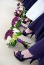Flowers And Shoes Of Bride And Bridesmaids Royalty Free Stock Photo - 18074215