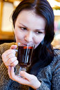 Beautiful Girl Drinks Mulled Wine Royalty Free Stock Photography - 18096847
