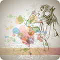 DJ Girl & Color Paint Stock Photography - 18098782
