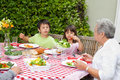 Happy Family Eating In The Garden Royalty Free Stock Photography - 18104477