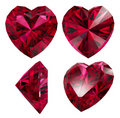 Ruby Red Heart Shape Isolated Stock Images - 18105304