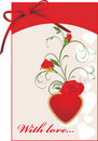 Red Roses And Heart. Valentines Card With Bow Stock Photos - 18120993