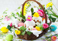 Basket With Easter Eggs And Cake Royalty Free Stock Photo - 18122055