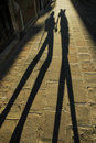 Shadow Of Walking Lovers Royalty Free Stock Image - 18132636
