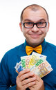 Happy Man With Handful Of Money Royalty Free Stock Images - 18147409