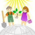 Children With A Tree Royalty Free Stock Image - 18168146