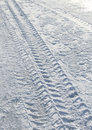 Vehicle Tyre Tracks On Snow Royalty Free Stock Images - 18202569
