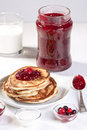Breakfast With Pancakes And Strawberry Jam Stock Images - 18204874