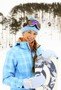 Woman With Snowboard Stock Image - 18207641