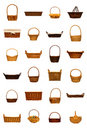 Rustic Wicker Basket Collection Isolated On White Stock Photo - 18211650