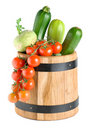 Wooden Barrel With Vegetables Stock Images - 18226954